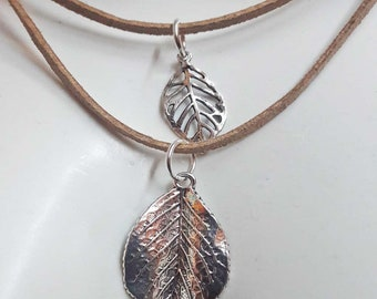 Double Leaf necklace,pendant,leaves,nature,environment,nature lover gift,vegan,faux suede,silver plated leaf,