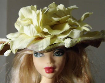 Royal yellow hat for Barbie doll. Handmade by Nims