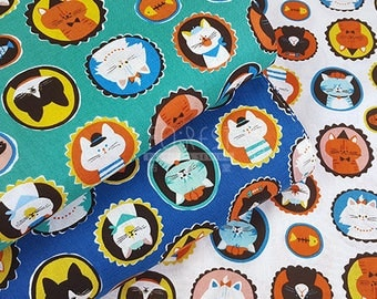 Cosmo cotton Cute Frame Cats fabric - 50cm