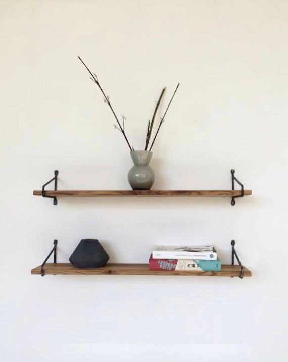 mini wandregal aus stahl und eiche handarbeit. Black Bedroom Furniture Sets. Home Design Ideas