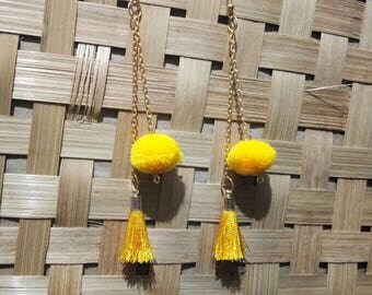Jewellery, Earrings, Drop Earrings, Pompom Earrings, Tassel Earrings, Dangle Earrings, Handmade Earrings, Pom Pom Earrings, Earring