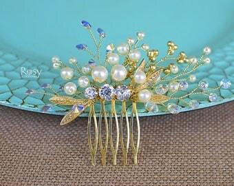 Gold Hair Piece, Bridal Hair Comb, Swarovski Hair Comb, Wedding Hair Accessories, Pearl Hair Comb, Gold Hair Accessory, Swarovski Comb