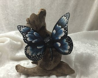 Blue Monarch Butterfly cut from a gourd and mounted on driftwood i