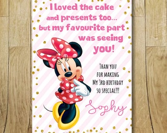 Printable Minnie Mouse birthday party thank you card, note