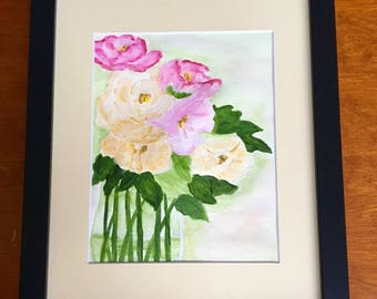 Artist Original Painting:  Watercolor painting of yellow and pink roses, beautiful color...beautiful in your home or office