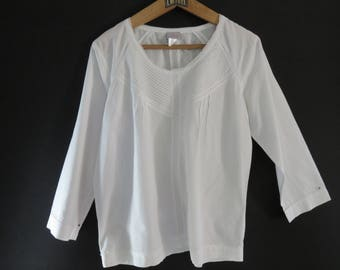 Vintage White Cyrillus Tunic with Sleeves 3/4 - T. 42