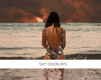 11 sunset overlays, sky overlays, sunset photography, beach sunset, sunset art, cloud overlays, photo overlays, Photoshop overlays,