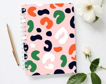 Leopard Notebook, Lined Notebook, Pink Notebook, Spiral Notebook, Leopard Print Notebook, Animal Print Notebook,