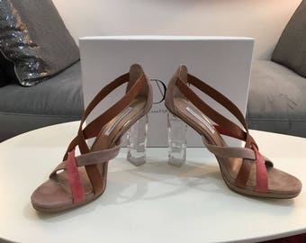 Diane von Furstenberg Ibizia Tan/Coral Multi Sandals