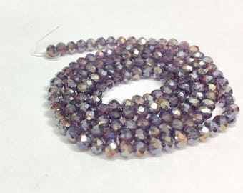 Violet rainbow rondelles, 2x3mm, (145-150) beads/faceted beads, 2x3 mm roundelles, crystal roundelles, glass roundelles, roundelle beads