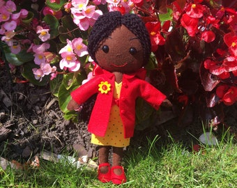 Cute Black Doll Ragdoll Handmade Felt Doll Afro Carribean Ethnic Dolls OOAK Art Doll Kawaii Girls Toys