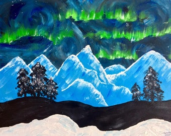 """The Aurora, Abstract Acrylic Painting, 16""""x20"""", Original on Canvas"""