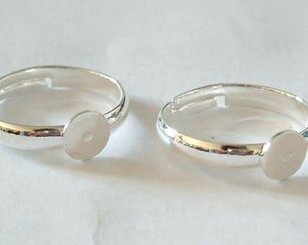 Set of 4 ring holders adjustable color Silver 5mm