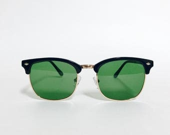 Classic Tinted Browline Frame Black Gold Clubmaster Sunglasses