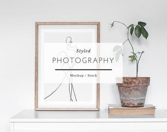 Styled Stock Photography - Scandinavian Style Shelf, Stock Frame, Mockup Frame, Frame photo