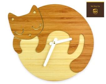 SLEEPING CAT - Bamboo Wall Clock - Children's Room Decor - Nursery Decor - Baby Shower Gift - Simple Wall Clock - Cat Lover - Cute Decor
