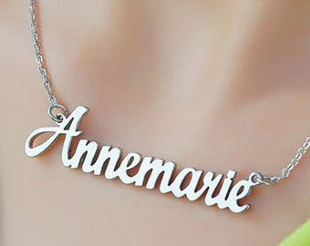 Silver Name Necklace, Name Necklace, Personal Necklace, Personalized Name Necklace ONLY 29