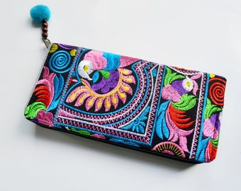 Colorful Thai-Hmong wallet with pom pom. Lovely and beautiful style!