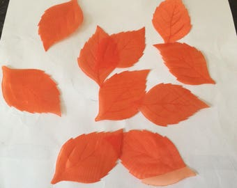 Set of 10 orange leaf lazer cut