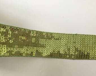 Khaki Green Ribbon with sequin 4.5 cm in width