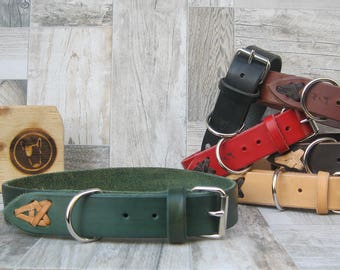 Green Leather Dog Collar, Classic Dog Collar for Medium and Large Sizes, Colorful Dog collar, Handmade Dog Collar, Durable Strong Dog Collar