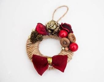 Unique Christmas Tree Decoration Chic Handmade Wreath Secret Santa Key Ring