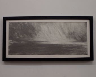 Graphite storm framed drawing by Kyla Dante