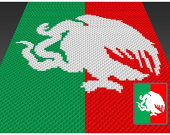 Mexican Eagle crochet blanket pattern; knitting, cross stitch graph; pdf download; no written counts or row-by-row instructions