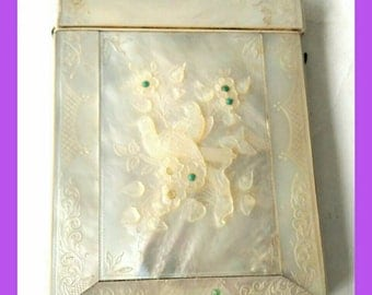 Antique Mother of Pearl Visiting Card Case Edwardian Period (6169)