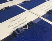 Navy Blue Glitter Wedding Invitation Pocket Wedding Invitation Diamante Heart Buckle Luxury Wedding Invitation GlamourSparkle