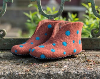 Gift for women birthday gifts for her Brown Polka Dots boots wool felted boots for home wool house boots felted shoes with leather soles