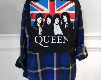 Queen Flannel Tee men's small vintage flannel shirt queen t shirt vintage red, white and blue  flannel  shirt freddie mercury t shirt