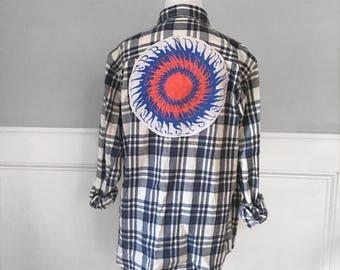 Steve Miller band Flannel Tee Vintage Steve Miller t shirt on new blue and ivory brushed cotton  plaid flannel shirt. Shown in men's medium