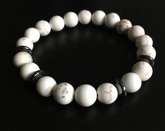 Howlite stones and Hematite mens bracelet.