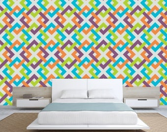 geometric wallpaper, colorful wallpaper, abstract wallpaper, abstract wall mural, watercolor wallpaper, watercolor mural, line wallpaper