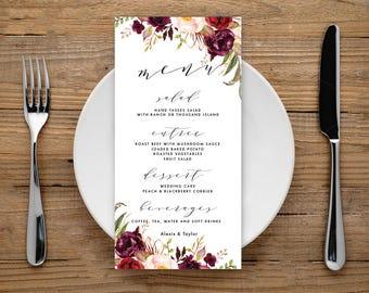 Wedding Menu, Wedding Menu Cards, Menu Cards, Printable Menu, Printable Menu Card, Dinner Menu, Reception Menu, Marsala Menu Cards