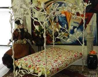 """Artisan Made Dollhouse Miniature Wrought Iron Look Bed """"MANON"""" 1:12 Scale Twin and Full, Half Scale"""