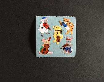 Sandylion vintage rare paper musical animals stickers