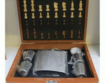 6oz Flask In Wooden Chess Set Box With 2 Cups & Funnel and full set of wooden chess pieces - flask engraved with your message!