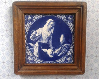 Blue, white tile, decorative tile in wooden frame, Made in Holland