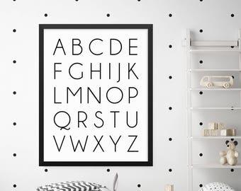 ABC Wall Art, ABC Poster, ABC Chart, Alphabet Poster, Alphabet Print,