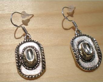 Cowgirl Hat Earrings, Western Earrings, Charm Earrings, Charm Findings
