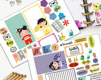 Kokeshi Doll Theme Planner Weekly Sticker SMALL Kit, BIG Happy Planner Sticker, Weekly Set, Stickers, Printed, Cut, Japanese, Guardian, Doll