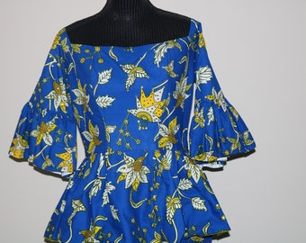 2 Set Blue Off shoulder Top & Skirt