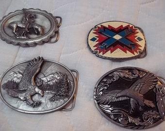 SISKIYOU VINTAGE American Indian Eagle Belt Buckles 1980's, 1990s Lot of 4