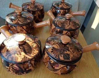 Set of 6 Soup Bowls with Handles and lids From Lapithos, Cyprus