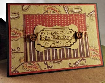 Handmade Birthday card for him - greeting card with matching envelope