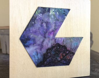 "4"" x 4"" Geometric Space Nebula Painting on Birch Panel"