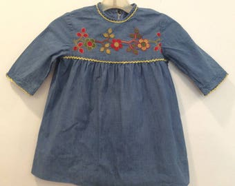 A Designer Fashion For Moppets embroidered vintage 1950's little girls dress back to school theater costume birthday Christmas blue flowers