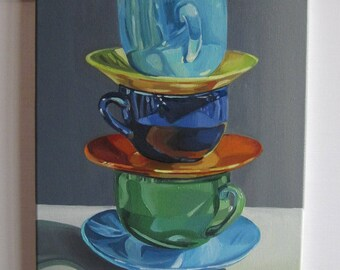 Picture on canvas Oil Paintings Tableware Beautiful service Cups with oil Painting tableware